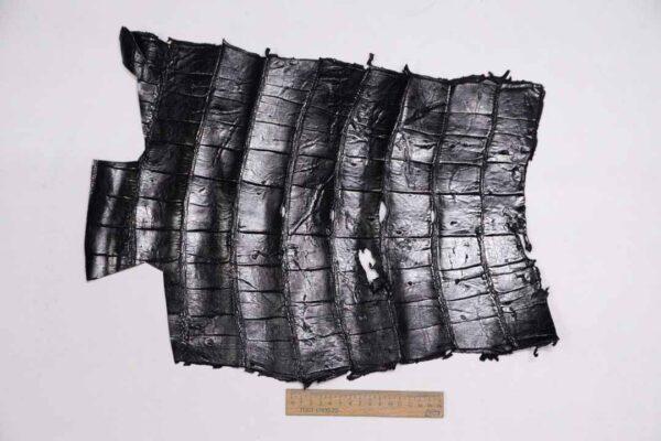 Кожа крокодила, черная, 37х33 см.- kr-318
