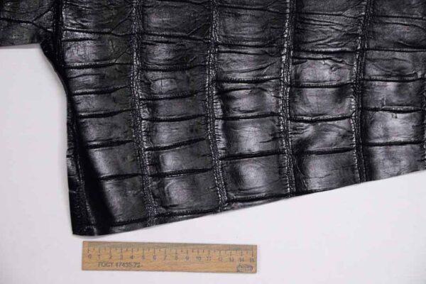 Кожа крокодила, черная, 41х26 см.- kr-322