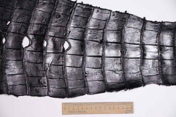 Кожа крокодила, черная, 59х24 см.- kr-323