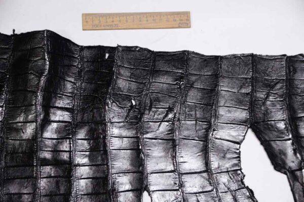 Кожа крокодила, черная, 100х38 см.- kr-325