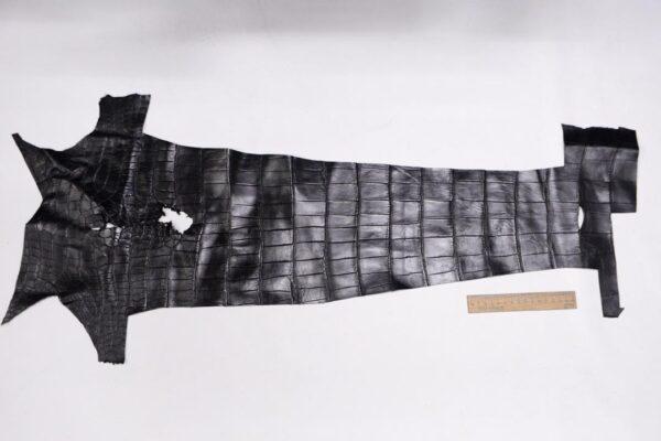 Кожа крокодила, черная, 62х24 см.- kr-327