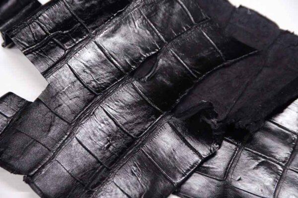 Кожа крокодила, черная- kr-328