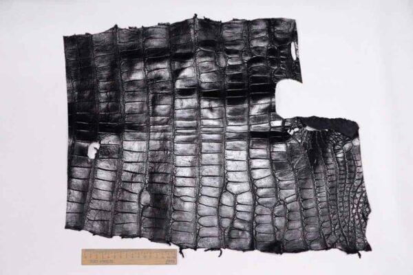 Кожа крокодила, черная, 37х41 см.- kr-329