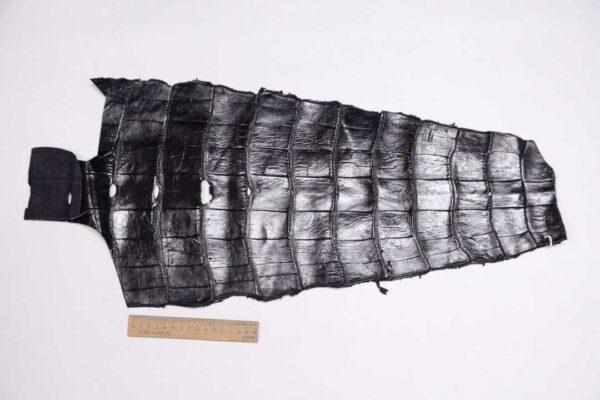 Кожа крокодила, черная, 55х29 см.- kr-332