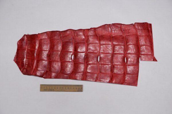 Кожа крокодила, красная, с эффектом пул ап (Pull Up) 52х23 см.- kr-337