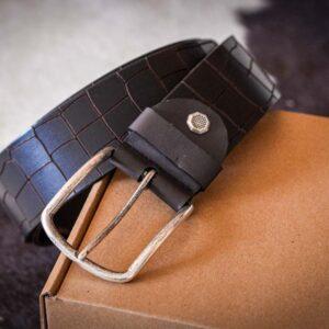 Мужской темно-коричневый кожаный ремень rm-014 (123,5/114/4,3)