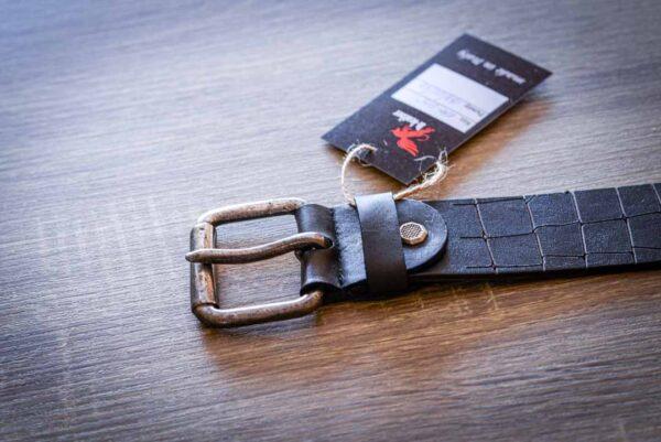 Мужской темно-коричневый кожаный ремень rm-015 (133/122/4,3)