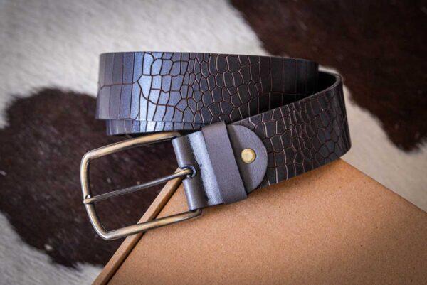 Мужской темно-коричневый кожаный ремень rm-016 (119,5/111/4,2)