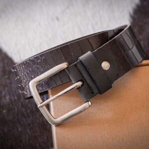 Мужской коричневый кожаный ремень rm-019 (112/102/4)