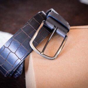 Мужской темно-коричневый кожаный ремень rm-002 (121/112/4.2)