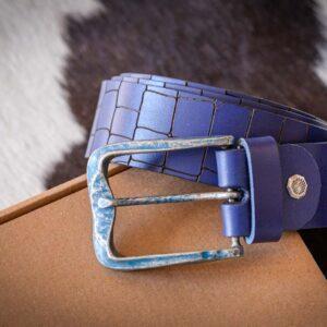 Мужской синий кожаный ремень rm-020 (137/128/4,3)