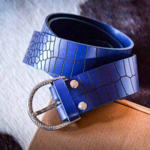 Мужской синий кожаный ремень rm-021 (130/118/4,3)