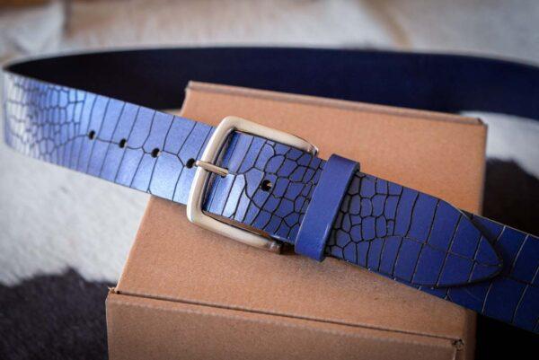 Мужской синий кожаный ремень rm-022 (131/120/4,2)