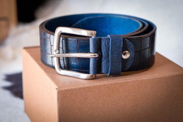 Мужской темно-синий кожаный ремень rm-023 (112/101/4,3)