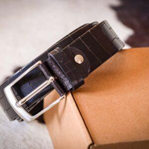 Мужской темно-коричневый кожаный ремень rm-004 (112/101/3,8)