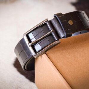 Мужской темно-коричневый кожаный ремень rm-005 (120/110/3,8)