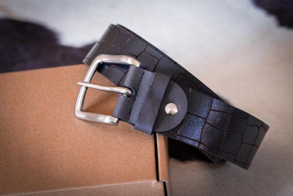 Мужской темно-коричневый кожаный ремень rm-008 (123/112/4,2)