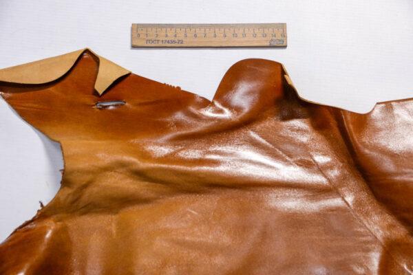Кожа КРС с эффектом пул ап (Pull Up), коричневая, 14 дм2.-1-504