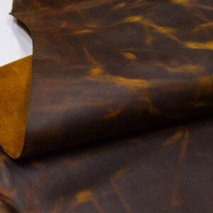 Кожа КРС крейзи хорс (Crazy Horse) с эффектом пул ап (Pull Up), коричнево-горчичная, 165 дм2.-D1-394