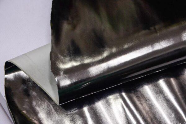 Лаковая кожа теленка, темное серебро, 71 дм2, Conceria Stefania S. p. A.-110021