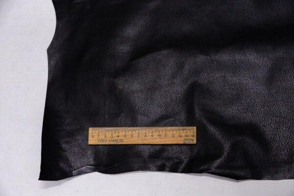 Кожподклад свиной (спилок) вощёный, черный, 49 дм2.-PT1-121
