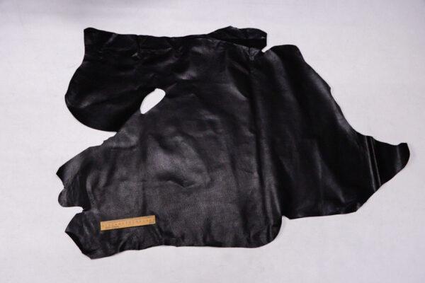 Кожподклад свиной (спилок) вощёный, черный, 60 дм2.-PT1-122