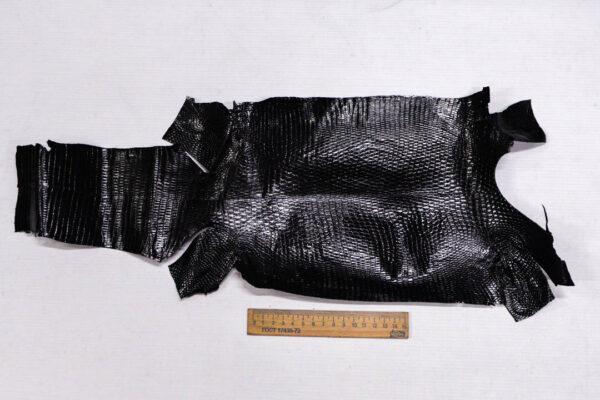 Кожа игуаны, черная, 49х21 см.- ign-004