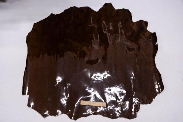 Лаковая кожа теленка, коричневая с мраморным эффектом, 72 дм2.-110005