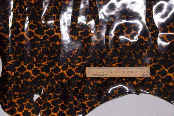Лаковая кожа теленка, леопардовая, 69 дм2.-110008