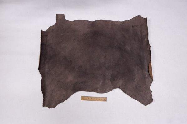 Кожа теленка с восковым покрытием, какао с разводами, 43 дм2.-110034