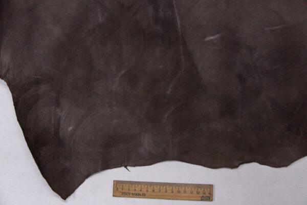 Кожа теленка с восковым покрытием, какао с разводами, 60 дм2.-110035