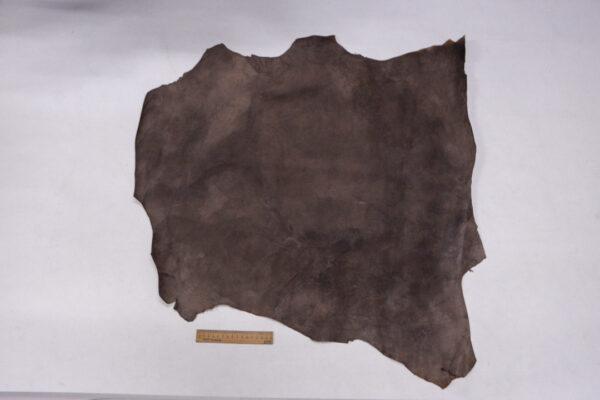 Кожа теленка с восковым покрытием, какао с разводами, 55 дм2.-110036