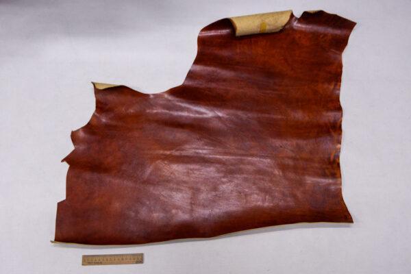 Кожа КРС растительного дубления, коньячная с мраморным эффектом, 48 дм2.-110043