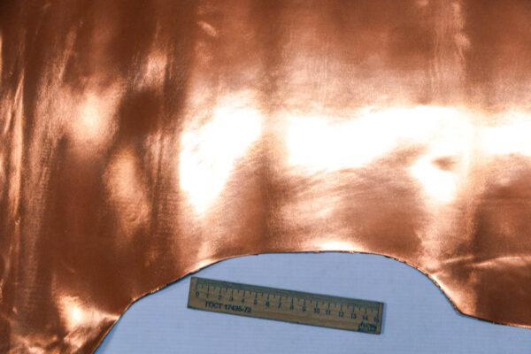 Лаковая кожа теленка, медная, 79 дм2, Conceria Stefania S. p. A.-110048
