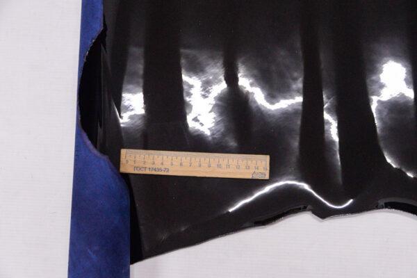 Лаковая кожа теленка, черная, 63 дм2.-110053