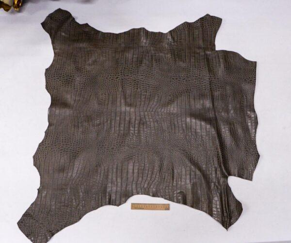 Кожа теленка с тиснением, серый хаки, 86 дм2, Bonaudo S.p.A.-110069