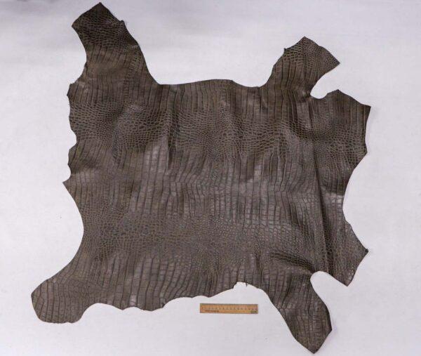 Кожа теленка с тиснением, серый хаки, 67 дм2, Bonaudo S.p.A.-110070