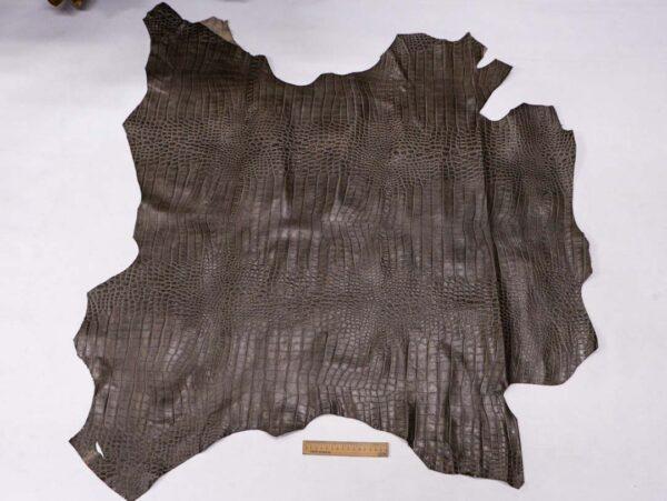 Кожа теленка с тиснением, серый хаки, 82 дм2, Bonaudo S.p.A.-110071