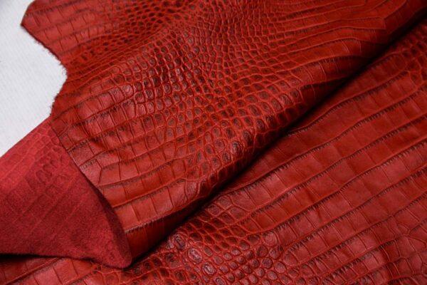 Кожа теленка с тиснением, красная, 80 дм2, Bonaudo S.p.A.-110072