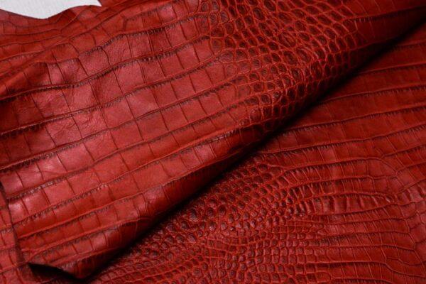 Кожа теленка с тиснением, красная, 79 дм2, Bonaudo S.p.A.-110073