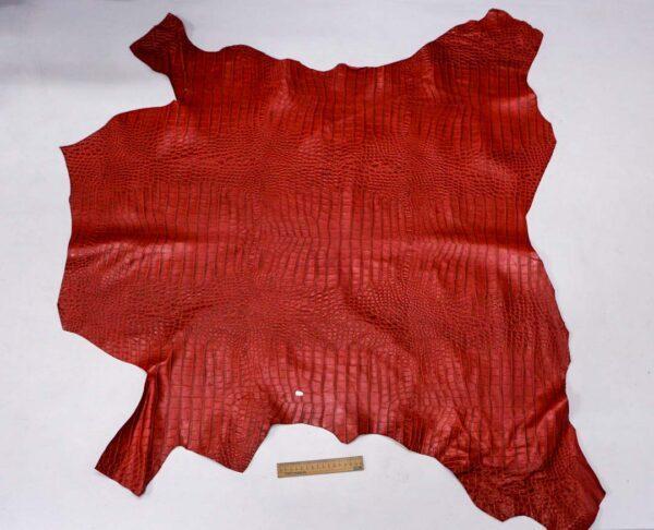 Кожа теленка с тиснением, красная, 88 дм2, Bonaudo S.p.A.-110074