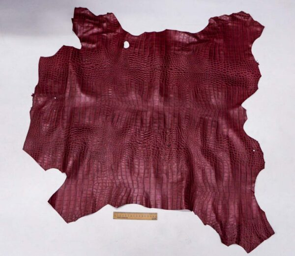 Кожа теленка с тиснением, вишневая, 72 дм2, Bonaudo S.p.A.-110075
