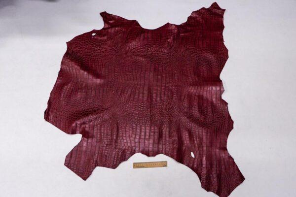 Кожа теленка с тиснением, вишневая, 69 дм2, Bonaudo S.p.A.-110076