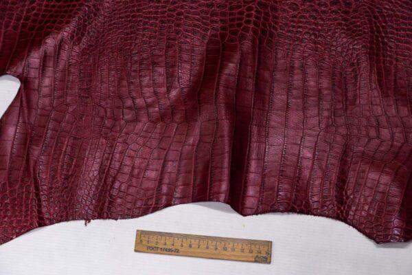 Кожа теленка с тиснением, вишневая, 107 дм2, Bonaudo S.p.A.-110077