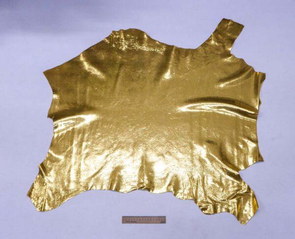 Кожа теленка с принтом под игуану, золотая, 57 дм2, Bonaudo S.p.A.-110078