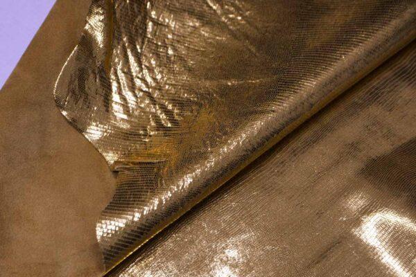 Кожа теленка с принтом под игуану, золотая, 68 дм2, Bonaudo S.p.A.-110079