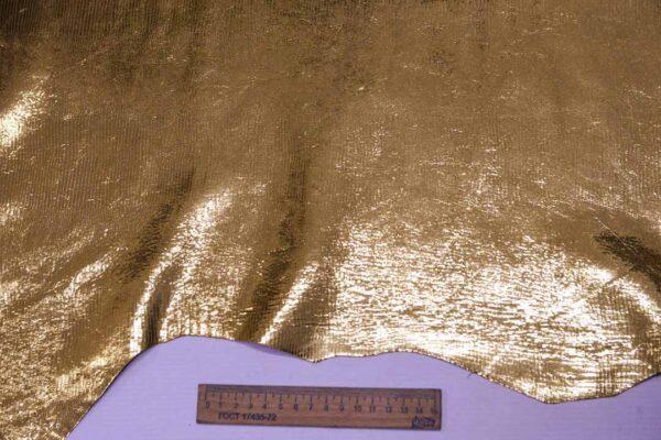 Кожа теленка с принтом под игуану, золотая, 73 дм2, Bonaudo S.p.A.-110080