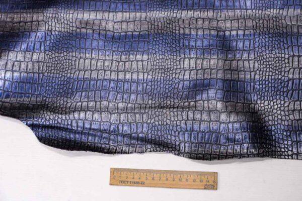 Кожа теленка тиснением, сине-серая, 77 дм2, Russo di Casandrino S.p.A.-110082