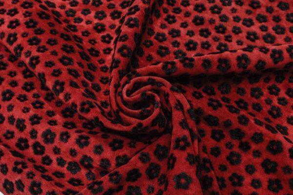 Спил КРС, темно-красный с черными цветами из флока, 103 дм2.-110153