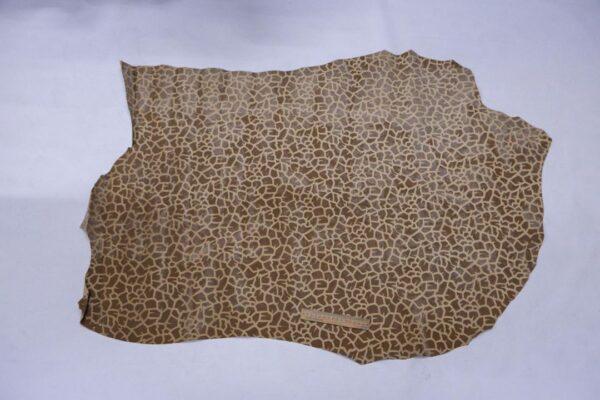 Велюр свинной с флоковым покрытием, бежевый, 82 дм2.-110162
